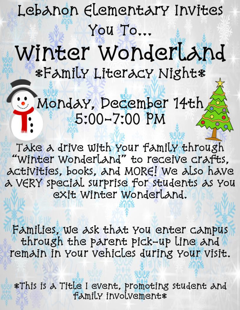 Lebanon Elementary hosting Winter Wonderland Family Literacy Night
